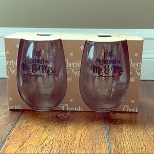 First Christmas as Mr. and Mrs. Stemless wine